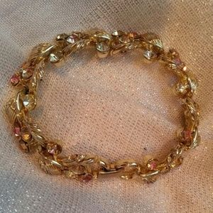 Vintage Gold Plated '50s Costume Diamante Jewelry